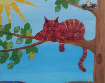 Calico Cat - Rest for the People of God - Wrapped Canvas Painting, Mixed Media, Acrylic and Paper
