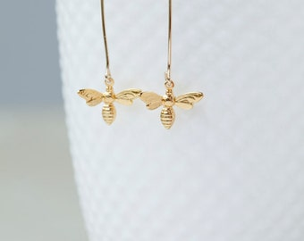 Long Dangle Earrings With Gold Vermeil Bee Charm