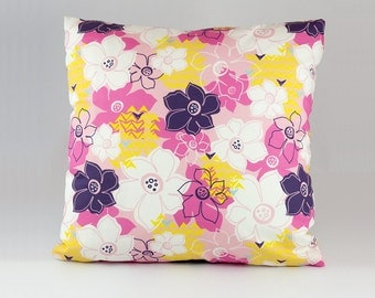 Pink Pillow Cover, Floral Pink Pillow Cover, Pink and Purple Pillow Cover, Pillow Covers, Floral, Pink, Purple, White, Yellow