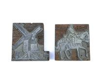 Pair of Antique Wood Block Metal Printing Plates, Vintage Art Printing Plates, Small Printing Plates of Knight on Horse and Windmill