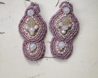 Lavender Chandelier Bead Embroidery Earrings