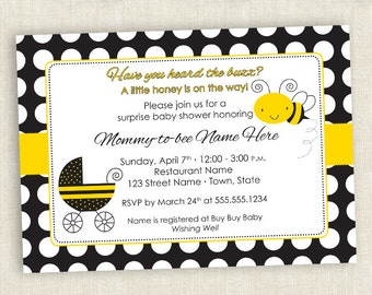 Bumble Bee Themed Baby Shower - Printable Invite
