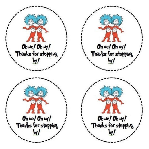 Thing 1 and Thing 2 Gift Tags Birthday Party Treat Bag Label