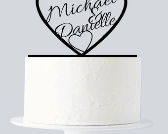 Wedding Cake Toppers with First Names Inside Heart, Personalized Cake Toppers, Custom Mr and Mrs Wedding Cake Toppers A896