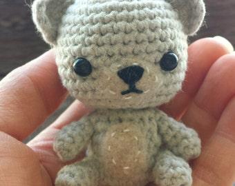 Mini Grey Crochet Bear, Amigurumi Bear, Kawaii, Handmade - Made to Order