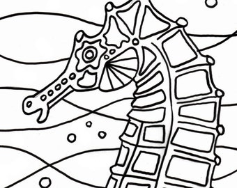 Seahorses Coloring Page Emboidery Pattern Seahorse Art