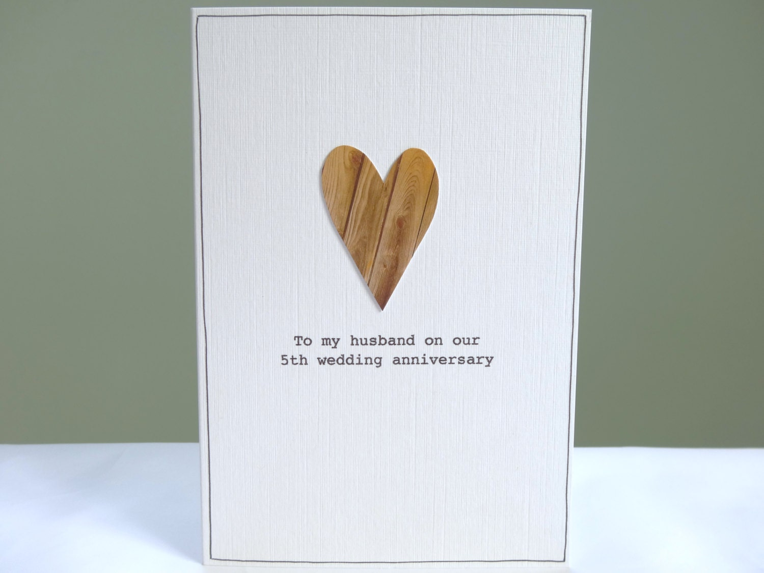 5th Anniversary Card Personalised Wood Anniversary By