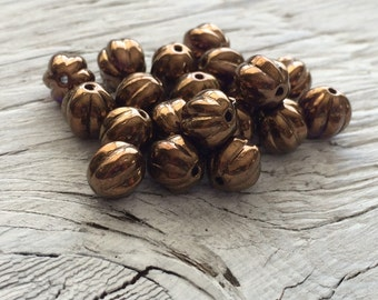Czech glass melon beads sunset maple 8mm  pack of 20 (M108)