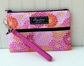 Padded Wristlet Mini Purse- Sassy Floral Pink