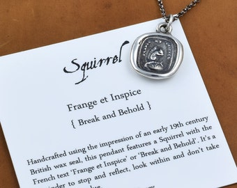 Look Within - Squirrel Wax Seal Necklace - Break and Behold, Don't judge a book by its cover - 250