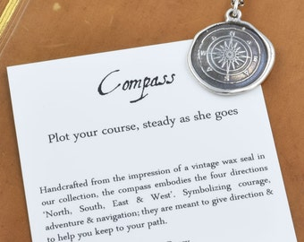 Compass Rose Wax Seal Necklace Antiqued - Compass jewelry - 332