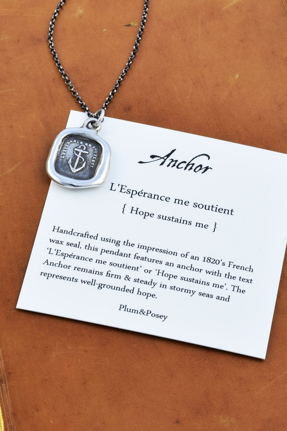 Hope Sustains Me Antique Wax Seal Necklace - 204