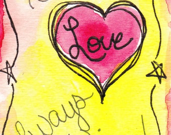 God's Love ATC ACEO Watercolor and Ink Painting Original not Print