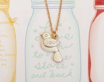 Sparkling Golden Peace & Love Dove Necklace, Bird Necklace, Cute Necklace, BFF Gift, Gift for Girl, Birthday Gift, Christmas Gift