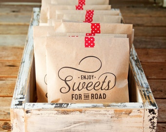 SALE - Kraft Paper Favor Bags - Sweets for the Road - Wedding, Shower, Party Favor - 25 Kraft Bags