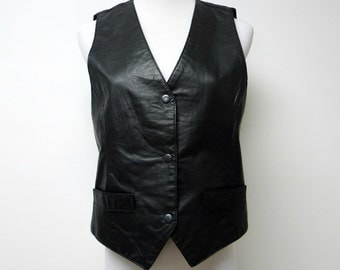 1990s black leather vest . medium