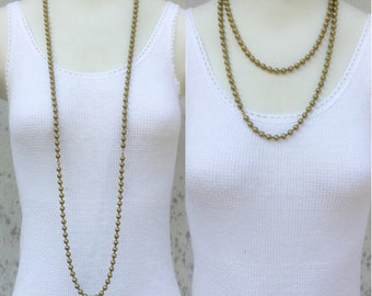 Extra long layering necklace or multi chain wrap. 43 in! Flapper. Gold solid raw brass ball chain. chunky & stackable wholesale bulk  K5
