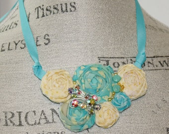 Fabric Bib Rosette Statement Necklace or Wedding Piece Small Aqua and Yellow Colors