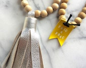 LEATHER TASSEL NECKLACE silver with wooden beads