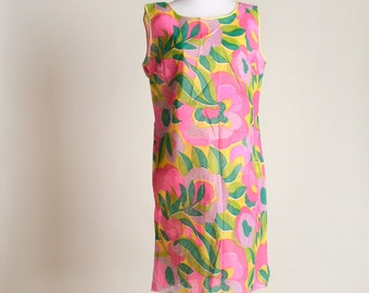 Vintage 1960s Paper Dress - Sheer Floral Bright Neon