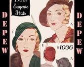 Vintage Sewing Pattern Reproduction 1930's Ladies' Eugenie Hats #1036 - INSTANT DOWNLOAD