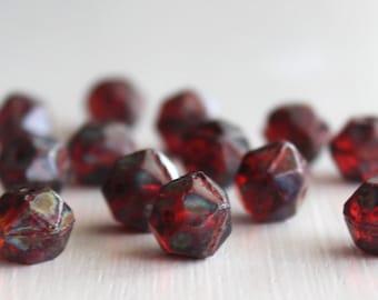 15 Garnet Picasso 10mm Czech Glass English Cut