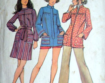 Misses' Smock In Two Lengths, Simplicity 9675 Vintage 70's Sewing Pattern, Size 12, 34 Bust