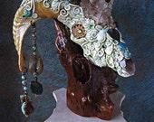 Ram Skull Altarpiece Altar Shrine Quartz Crystal Labradorite Moonstone Magick Occult Pagan Art Sculpture RENEWAL RITE by Spinning Castle