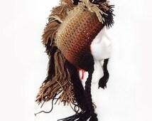 Long Dark Brown Tones Ombre Mohawk Hat