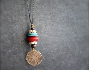 Etched Brass Mushroom Spore Print Pendant Necklace Rustic Texture Brown Wood Red Coral Turquoise Nature Boho Jewellery