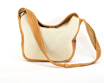 BRIO Bag Ivory knit Cutout Leather  Slouch Tote Handbag Vintage Purse Bag