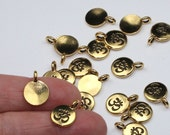 2 Or More TierraCast Om Charms Antiqued Gold Plated Small Meditation Yoga Pendants Tierra Cast Lead Free Pewter Eastern Religion Aum Mantra