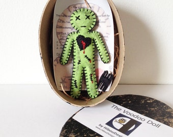 Voodoo Doll - mini zombie voodoo doll-  break up doll - black magic walking dead zombie neon green color- as Seen in Stuffed Magazine - OOAK