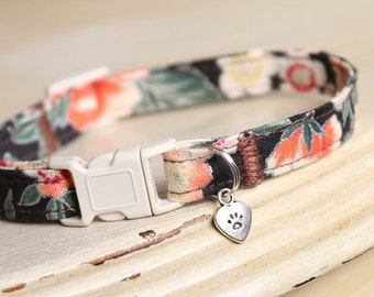 Moonlit Kawaii Tropical Cat Collar with Heart Charm or Bell