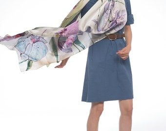 Silk satin Shawl-Orchids Tango/ Wedding accessory/ Hand painted shawl. Purple, blue satin scarf. Floral oversized shawl/ Luxurious scarves