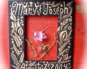 custom personalized name and date frame-wood burned-wedding-anniversary-keepsake-flower bird woodland-ooak night garden design-home decor