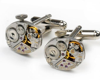 Steampunk 1960's Longines Watch Movement Cuff Links