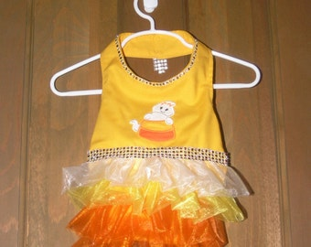 Dog Halloween Costume-Candy Corn Dress