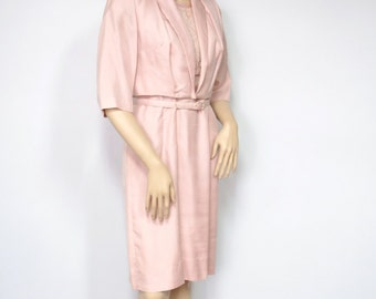 1960's Suit Vintage Two Piece Women's Dress Suit Jacket and Dress Pink Lace Crop Jacket Belted Dress Size Small