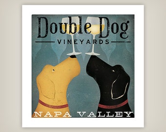 CUSTOM PERSONALIZED Black Yellow Brown Red White Grey Double Dog Wine Vineyards Print