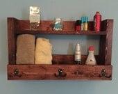 Rustic bathroom shelf, bathroom organizer, cherry stained shelf with hooks,  towel rack, rustic shelf, bathroom storage, bathroom shelf