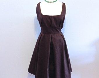 Vintage Dress 50s style Chocolate Brown Swing Dress Lg XL ,Calvin Klein Swing dress - on sale