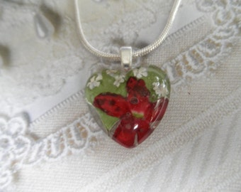 An Enchanted, Peaceful Heart-Petite Red Verbena, Queen Anne's Lace,Ferns Pressed Flower Glass Heart Pendant-Symbolizes Peace, Enchantment