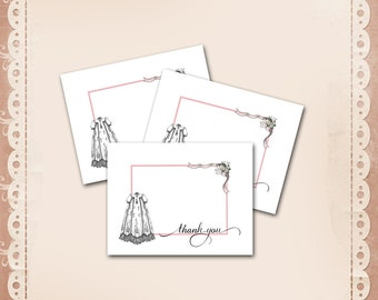 Christening Thank You Card / Girl Baptism / Dedication / Long Gown Ribbons Flowers Pink Border / Invitation Available / DIY