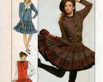 1980s Drop Waist Dress with Tiered Skirt - Vintage Simplicity 5735 - B 30 31 32 UNCUT FF