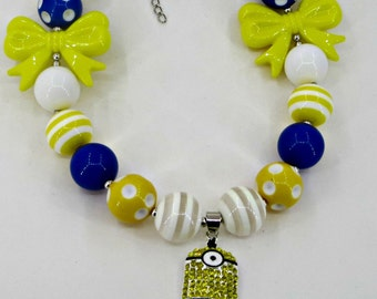 Bubblegum chunky Minion Necklace for Little Girls Photo prop