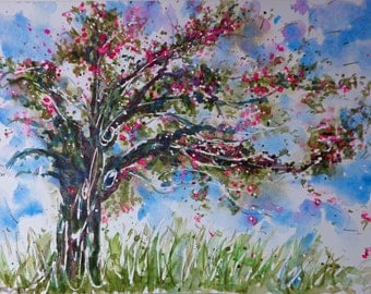 tree watercolor art Coblat Blue Pink Apple FairyTree Clear Bright windblown Bold romantic pink fun fancy elfin elves homes Print 8x12