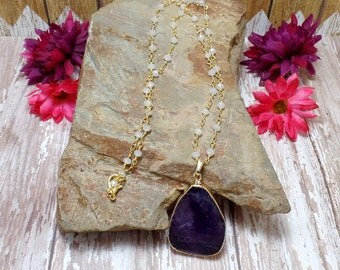 Amethyst Slab Necklace, Amethyst Slice, Amethyst Pendant, Beaded Chain