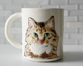 Main Coon Cat Ceramic Mug: pet portrait coffee mug tea cup | mustard browns with pink interior | crazy cat lady tabby cat | made to order