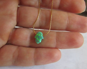 Hamsa Hand Necklace, Gold Necklace, Green Opal Hamsa Necklace, Green Hamsa Charm, Hand Charm, Gold Hamsa Necklace, Opal Jewelry